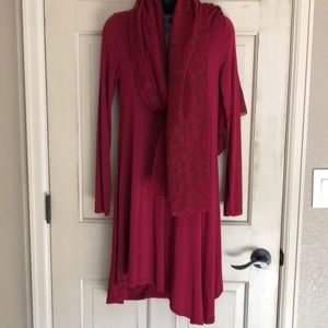 Dresses & Skirts - Asymmetrical Cotton Dress& Chiffon Scarf